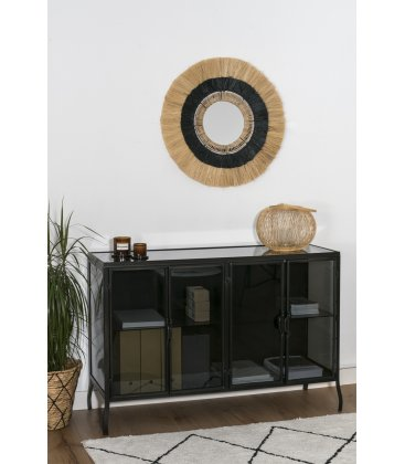 Espejo redondo con flecos bicolor negro y natural CYRUS