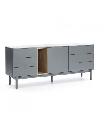 Aparador gris claro y madera con 1 puerta y 6 cajones KEV
