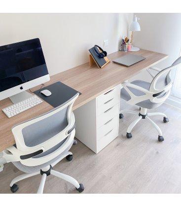 Silla de escritorio con ruedas regulable en altura blanco y gris LEVO