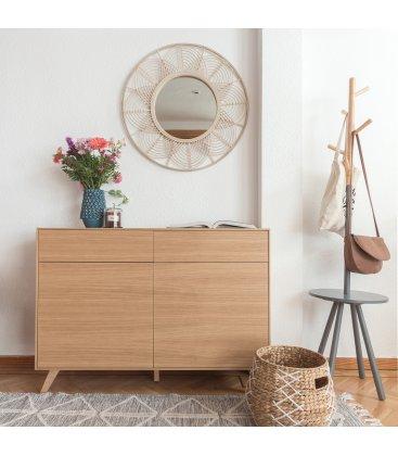 Perchero de madera natural y color gris con bandeja JABEN