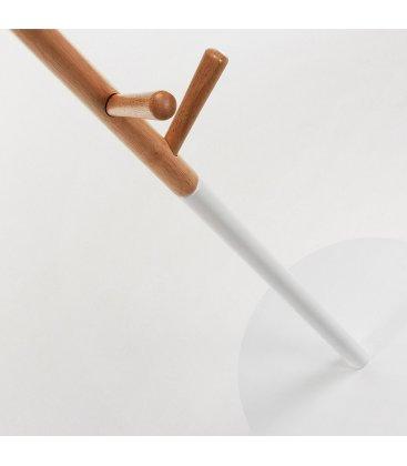 Perchero de madera natural y color blanco con bandeja JABEN