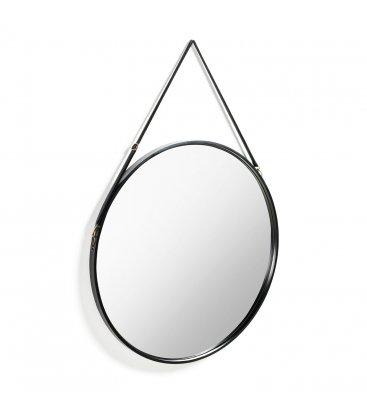 Espejo redondo ARTI negro con asa de piel.