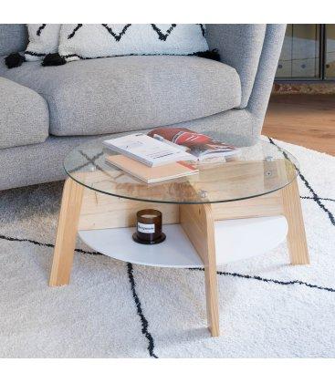 Mesa de centro redonda de madera y vidrio con bandeja LAHTI