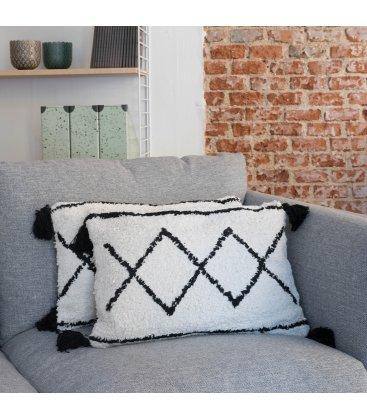 Cojín rectangular de algodón blanco y negro estilo bereber 50x35cm NOIR