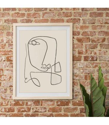 Cuadro abstracto cara línea negra con marco madera 55x70 cm FACE_01