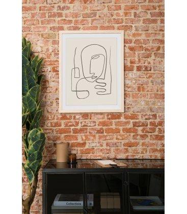 Cuadro abstracto cara línea negra con marco madera 55x70 cm FACE_02