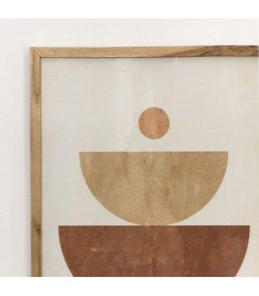 Cuadro abstracto blanco, marrón y beige 50x70 cm SPOTn03