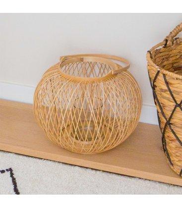 Farol portavelas bajo con asa de bambú