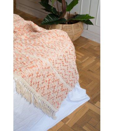 Plaid de algodón beige y color melocotón con flecos (150cmx125cm)