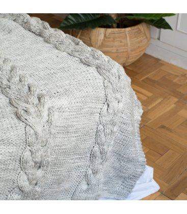 Manta tejida gris con ochos KNIT (150cmx125cm)