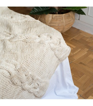 Manta tejida beige con ochos KNIT (140cmx130cm)