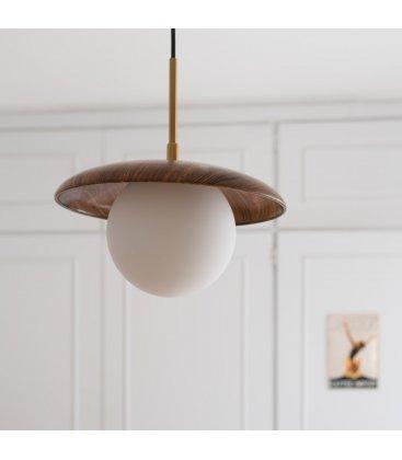 Lámpara de techo opal, madera y dorado MID