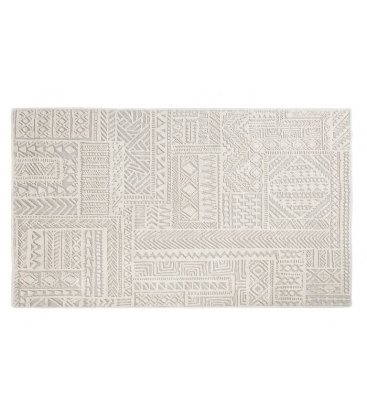 Alfombra de algodón blanco roto jacquard con dibujos geométricos 160x230cm NAZCA