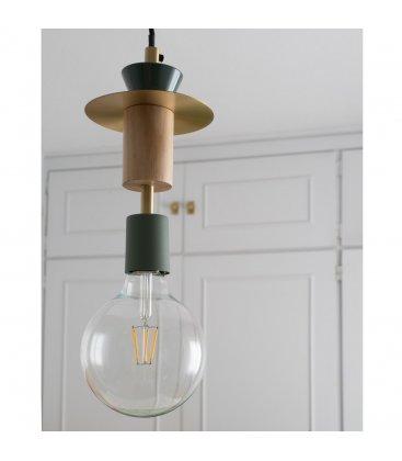 Lámpara de techo con figuras geométricas madera y verde JOY