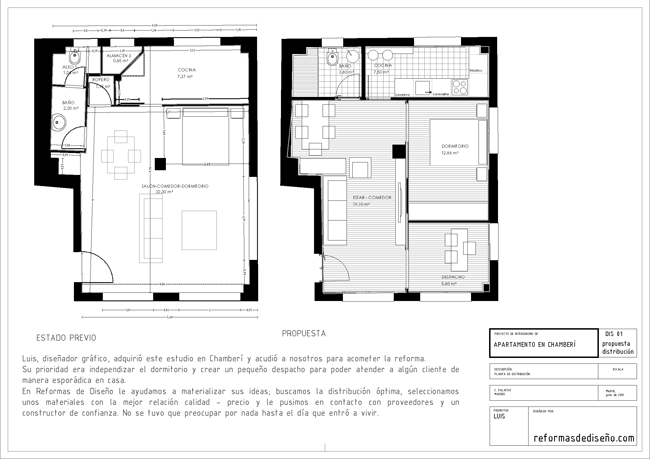 Plano de distribución de reforma de diseño madrid