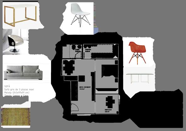 Ejemplo de proyecto de amueblamiento b sico de apartamento for Mobiliario para planos