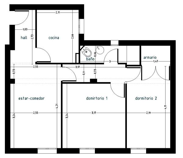 Interiorismo low cost plano de estado actual 2 for Como disenar una cocina pequena planos