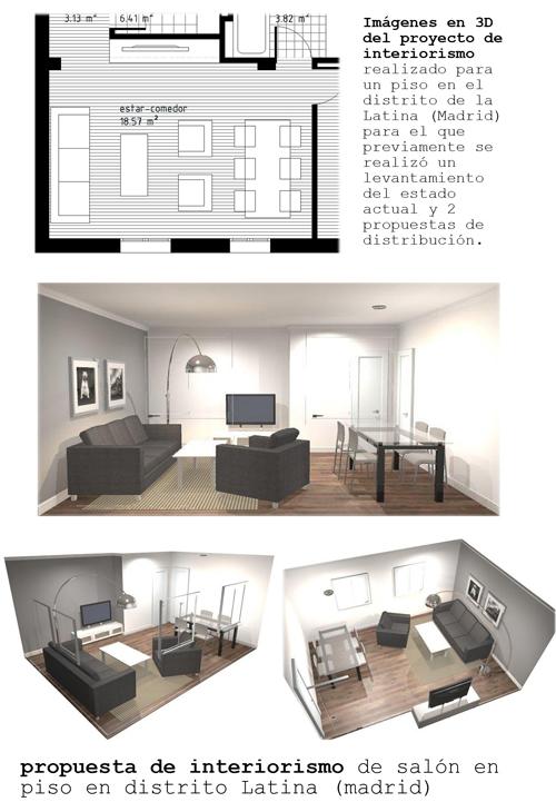 Propuesta de interiorismo en 3D para un salón en el distrito Latina ...
