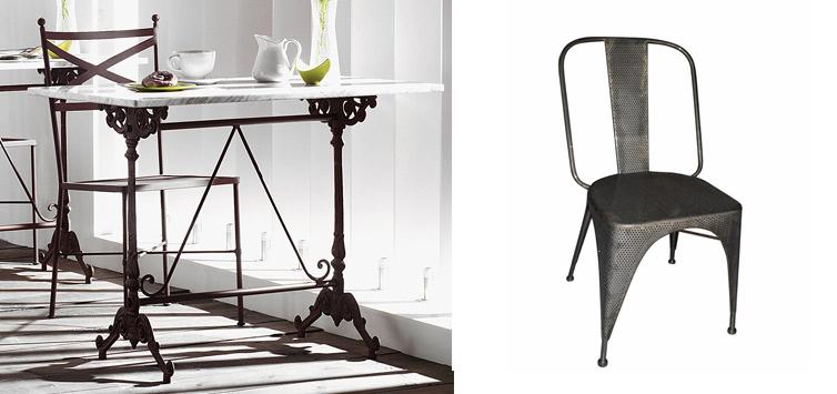 RDD FIVE LEAVES mesa café burgués mármol hierro fundicion y silla aka industrial vintage homing