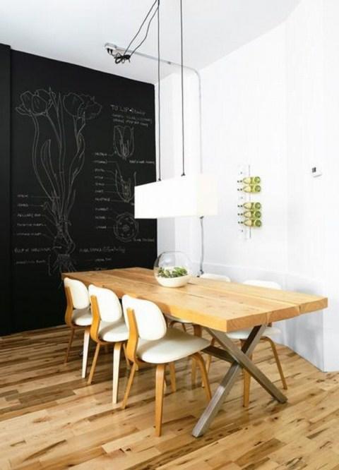 reformas de diseño interiorismo pizarra pared comedor decoración madrid barato low cost decorar pared pizarra interioristas decoradores