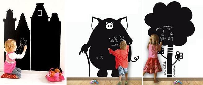 reformas de diseño interiorismo pizarra pared habitación niños decoración madrid barato low cost decorar pared pizarra interioristas decoradores