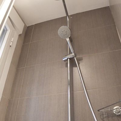 Las dimensiones del baño, que además cuenta con dos ventanas, permitían incluir algo de color en los acabados.