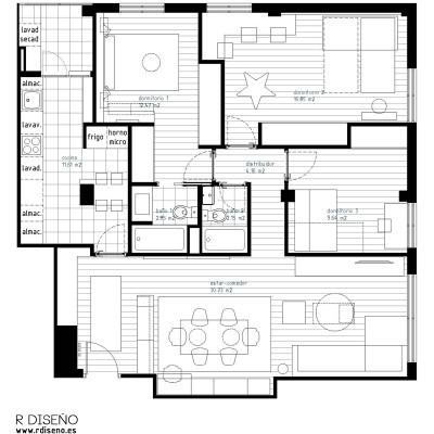 Con la nueva distribución se ganó espacio para la cocina y se consiguió un dormitorio principal con baño en suite.