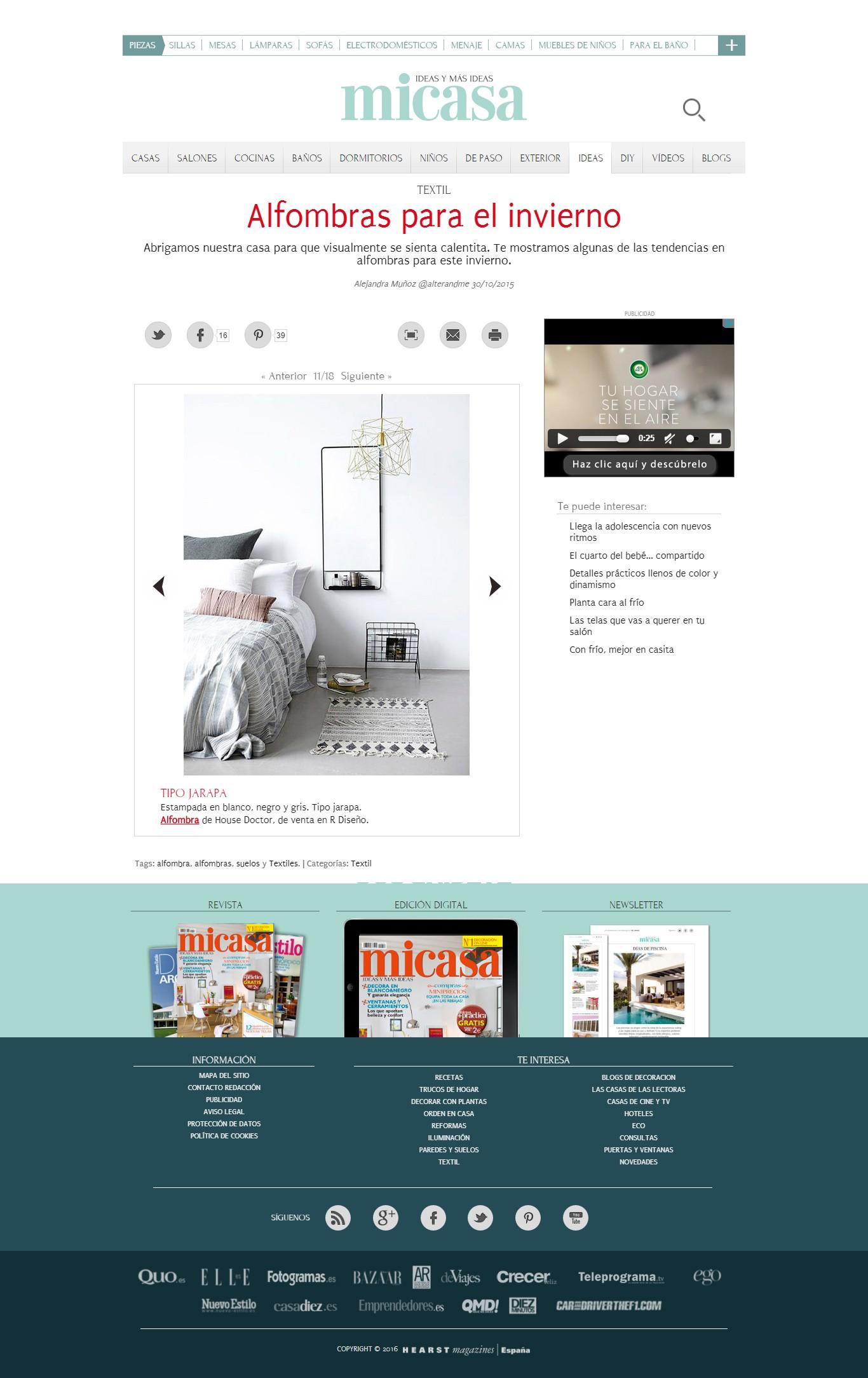 5d575ce229e31 La alfombra Block de House Doctor forma parte de la galería de Micasa  Revista con recomendaciones para abrigar nuestros hogares de cara al  invierno con ...