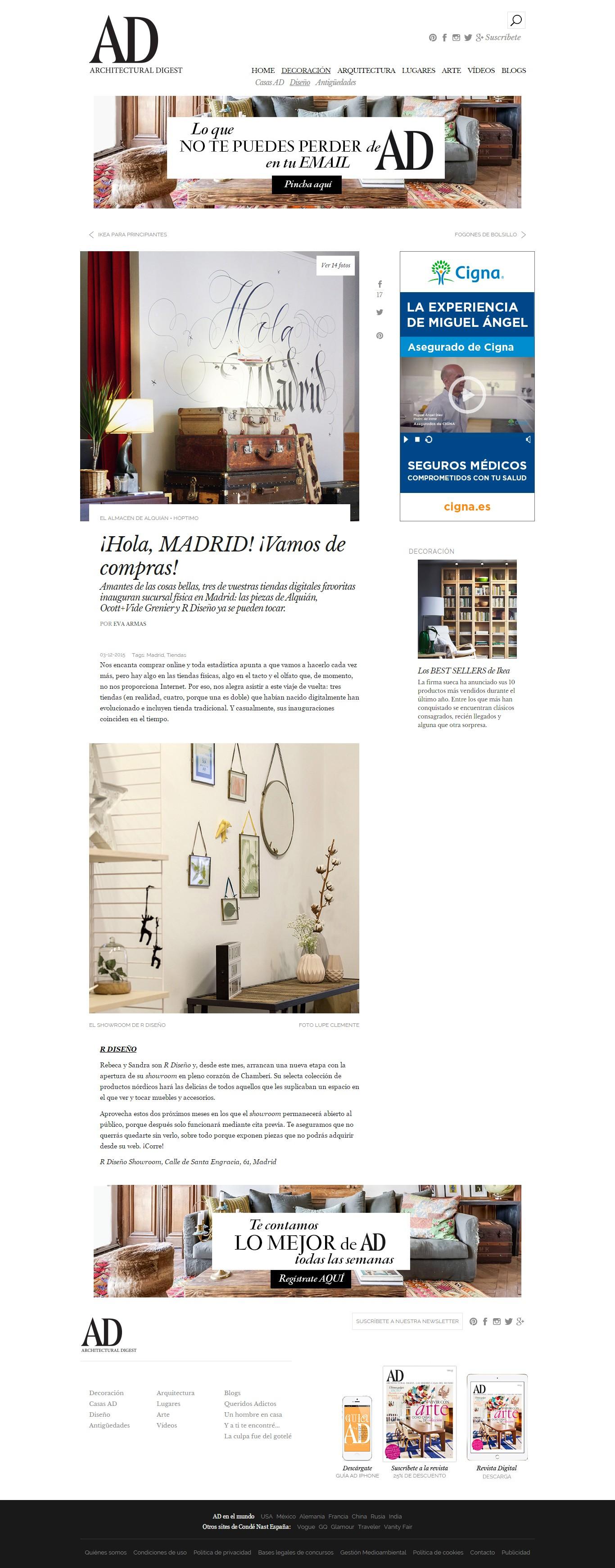 8e4b21c5f87f4 La revista AD se hace eco de la inauguración de nuestro showroom y nos  elige entre sus tres tiendas favoritas de Madrid para acertar con las compras  de ...