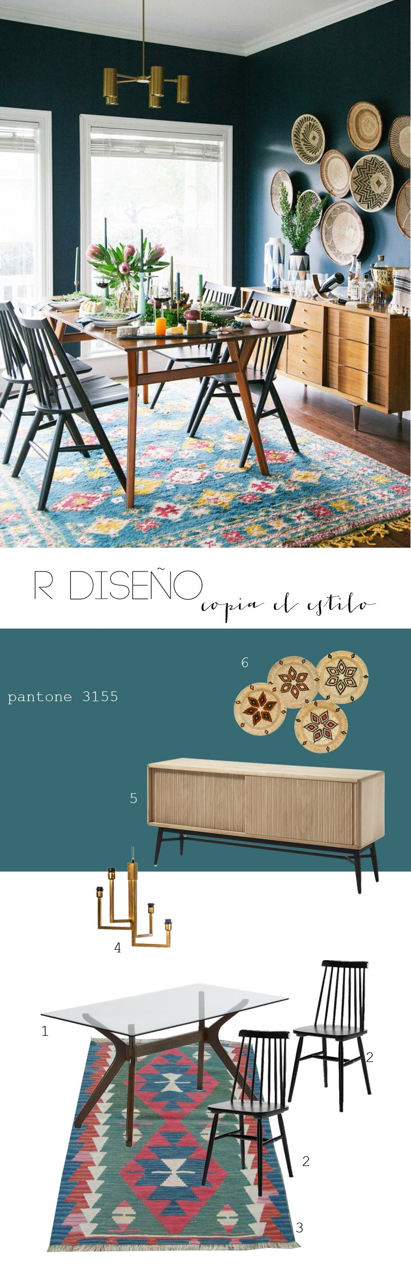 R de Room INTERIORISMO. Copia el estilo: comedor boho. Combinación de piezas mid century con alfombra kilim y objetos de artesanía.