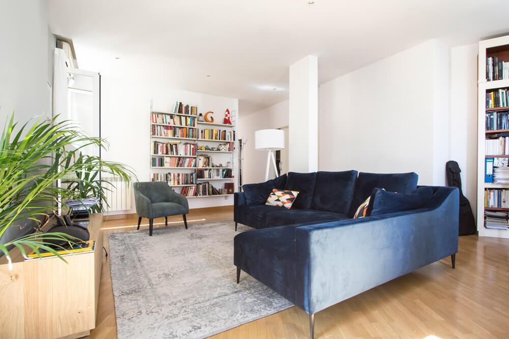Proyecto de interiorismo en Luchana (Madrid) por R de Room. Diseño de estar-comedor.