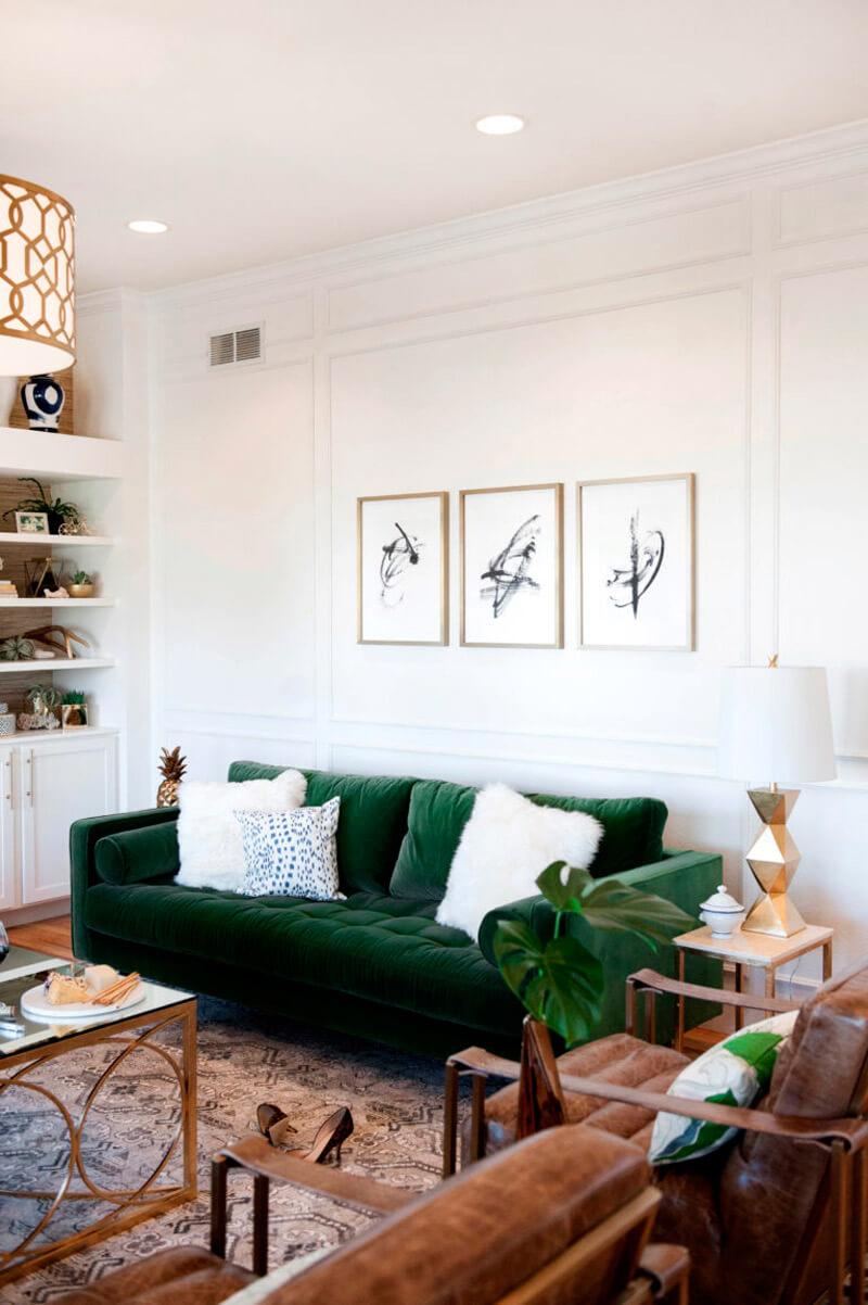Tendencia deco: terciopelo. Guía de estilo para tener una casa con clase. Sofás verdes.