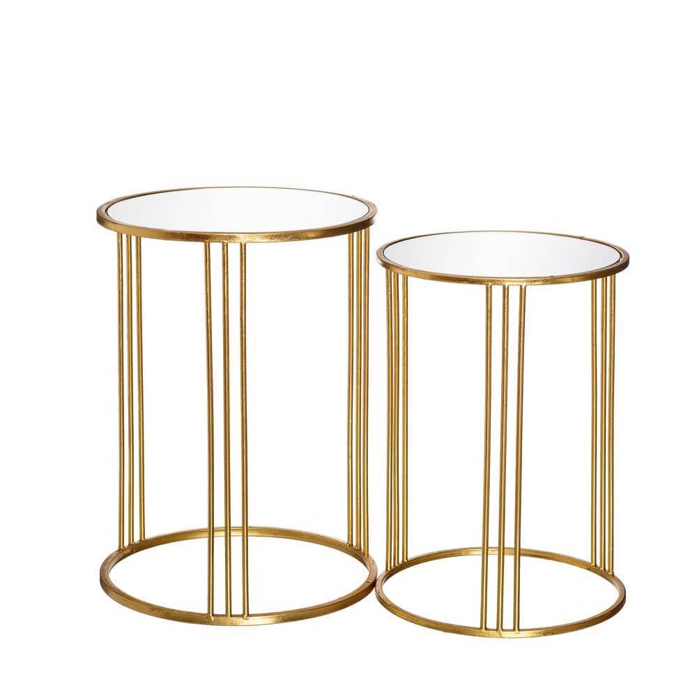 R DE ROOM juego de dos mesillas doradas con sobre de espejo. Mesas nido doradas. Estilo luxury chic.