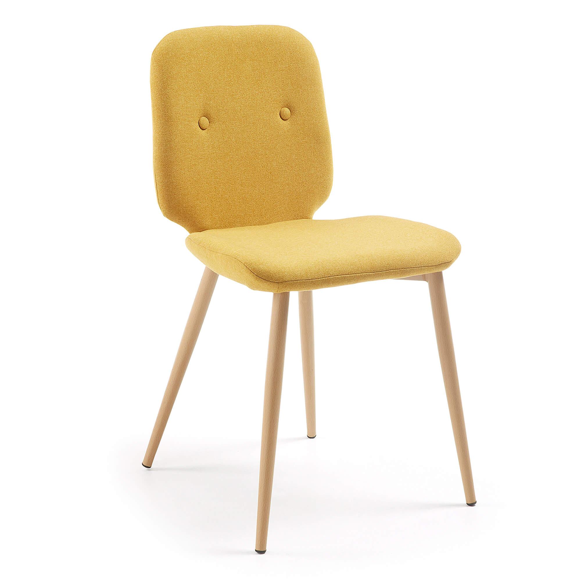 R DE ROOM silla de comedor tapizada en color mostaza. Silla de comedor cómoda. R DE ROOM silla de comedor tapizada en color mostaza. Silla de comedor cómoda.
