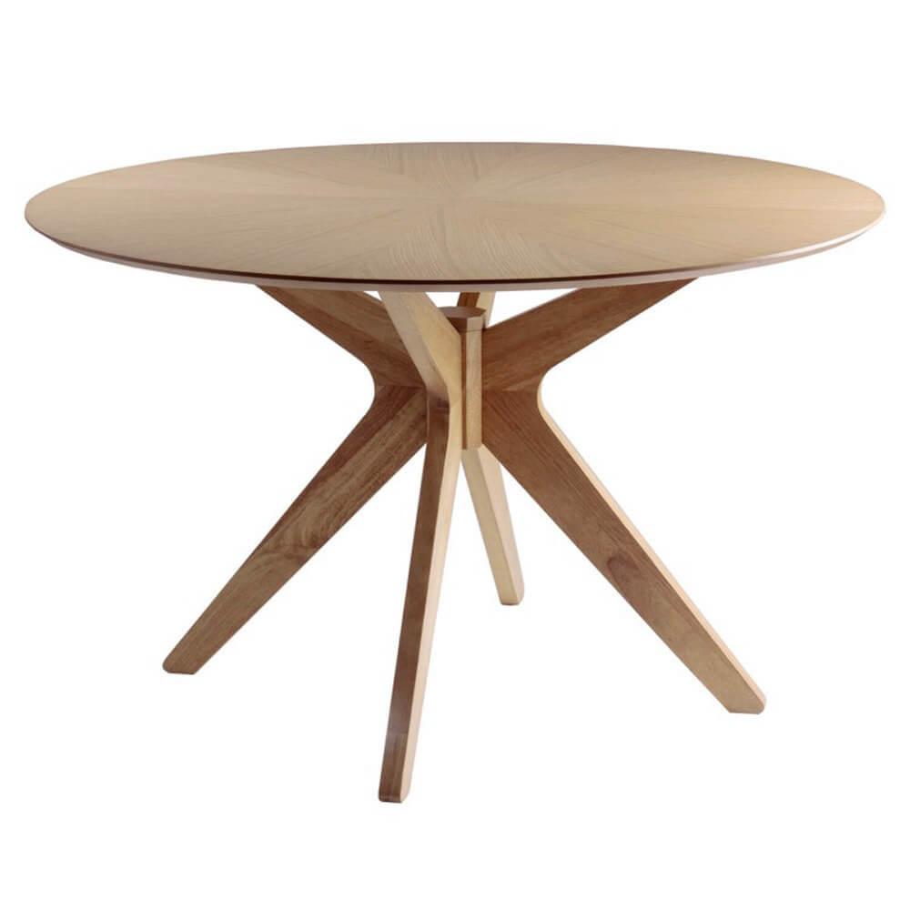R DE ROOM mesa de comedor redonda de roble con patas centrales. Mesa fija para 6 personas.
