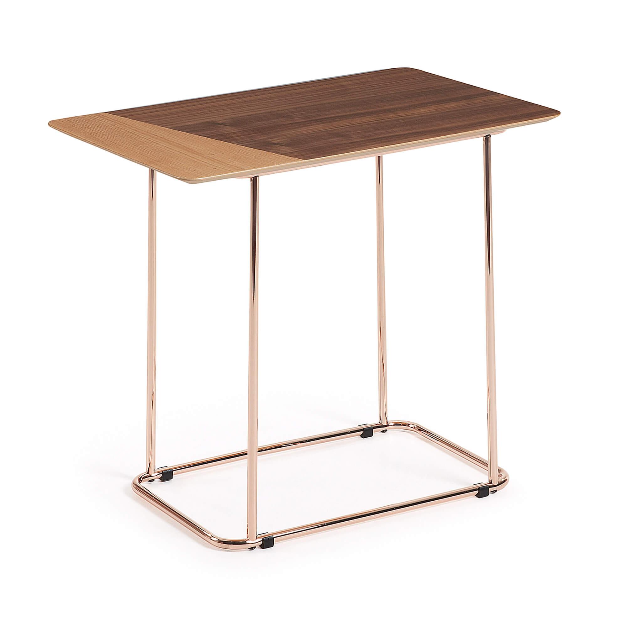 R DE ROOM. Mesa auxiliar. Mesa de centro. Mesa con patas de cobre y sobre de DM chapado de madera bicolor (roble y nogal). Estilo retro. Años setenta.