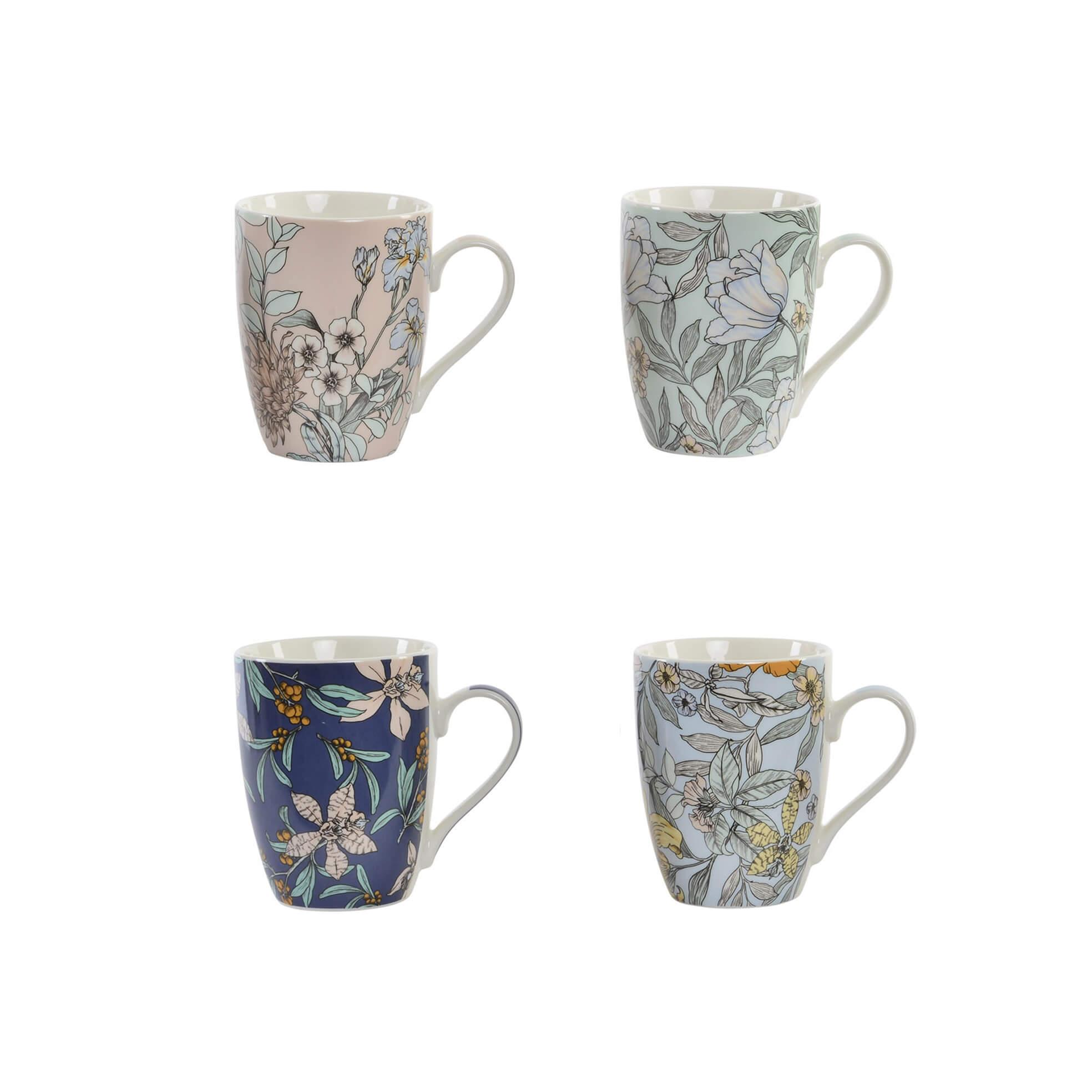 R DE ROOM taza tipo mug con estampados de flores. Tazas con flores de colores variados. Cuatro modelos para elegir. Disponible en azul oscuro, azul claro, verde menta y rosa empolvado.
