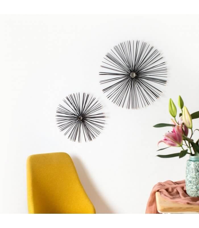 R DE ROOM erizo decorativo de pared. Escultura decorativa de pared con forma de erizo color negro. Dos tamaños disponibles.