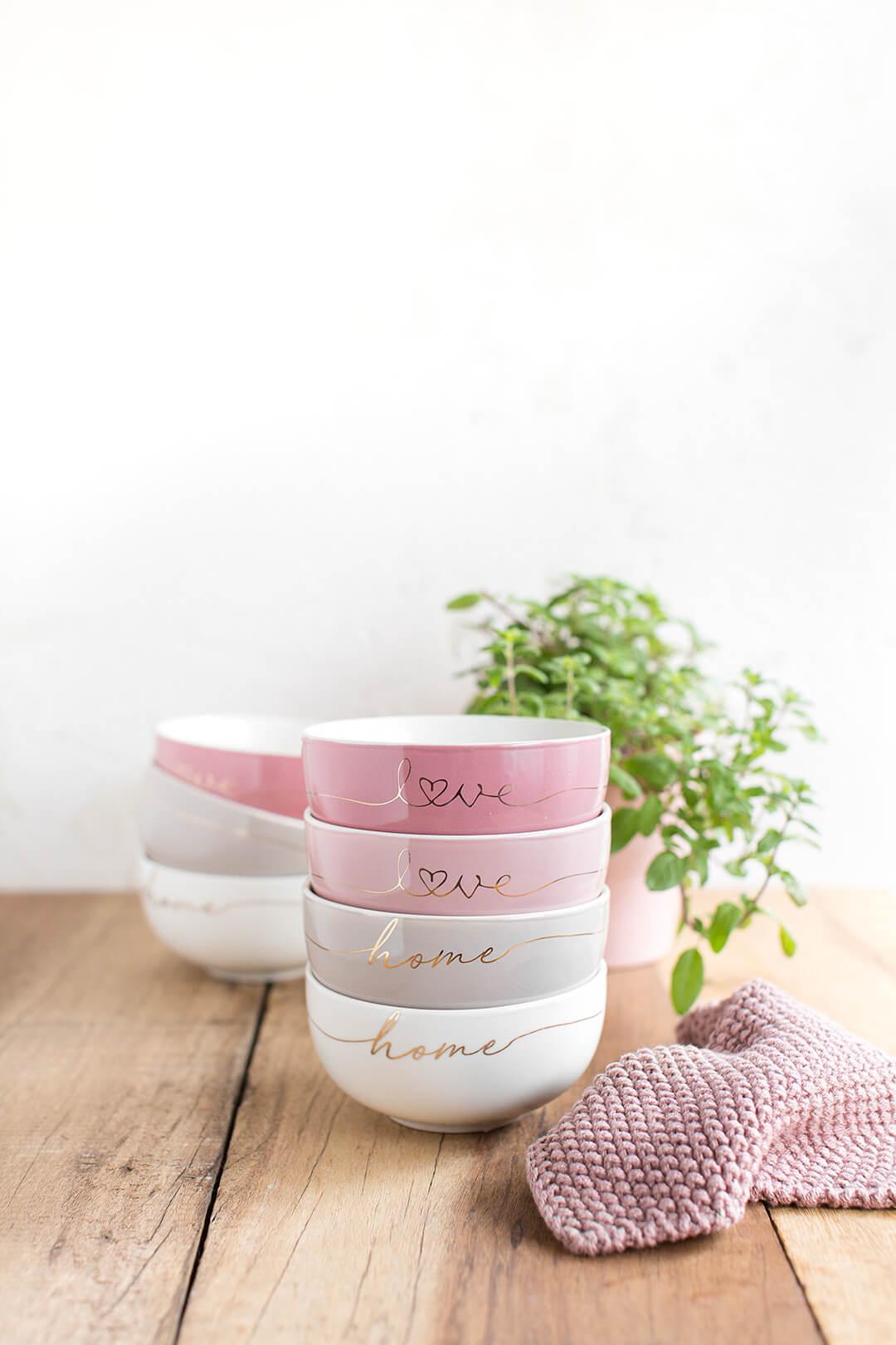 """Boles de cerámica esmaltada con palabras """"home"""" y """"love"""" (4 colores)"""