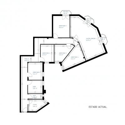Plano del estado previo de la vivienda. Proyecto de R de Room.