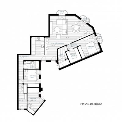Plano del estado reformado de la vivienda. Proyecto de R de Room.