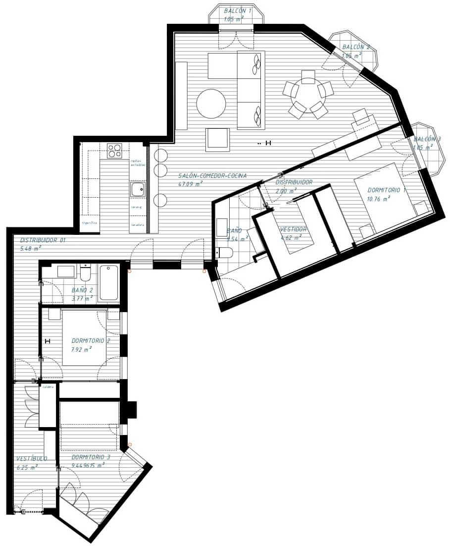 Estado reformado y cambio de distribución de vivienda en Chamberí. Actualizamos las superficies para que sean funciones y adaptadas al estilo de vida de sus ocupantes.