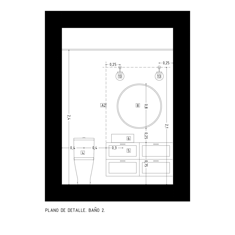 Plano de detalle de baño. Proyecto de R de Room.