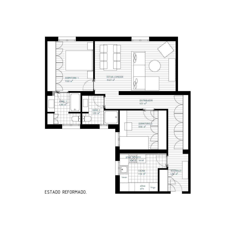 Plano de estado reformado de vivienda en calle Colombia, Madrid. Proyecto de R de Room.