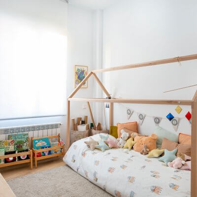 Dormitorio infantil Montessori. Proyecto de R de Room.