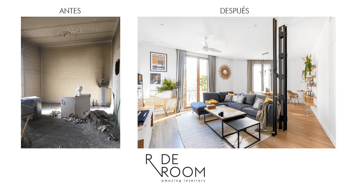 Antes y después vivienda Álvarez de Castro. Proyecto de R de Room.