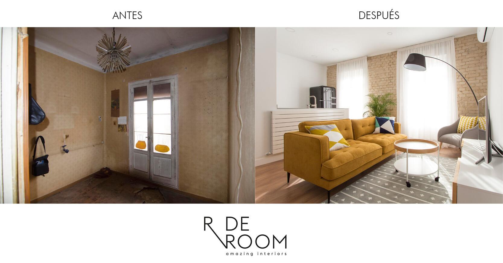 Antes y después vivienda Cristóbal Bordiú II. Proyecto de R de Room.