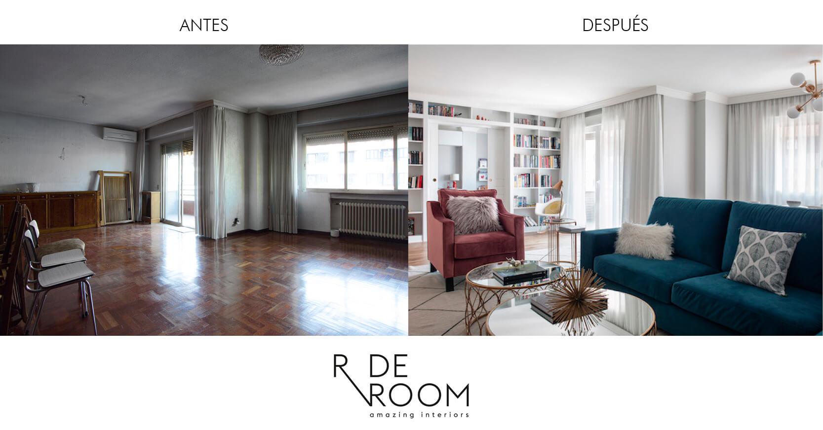 Antes y después vivienda Santa Engracia. Proyecto de R de Room.