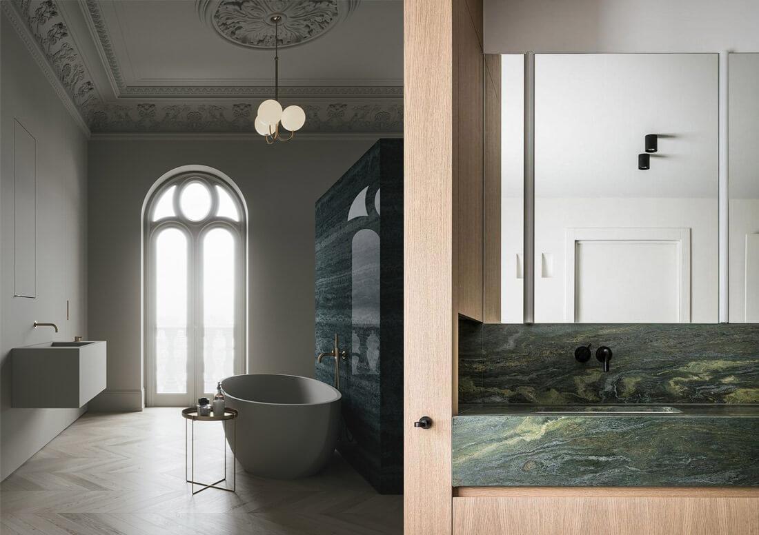 9 tendencias para baños en 2021: mármol verde.