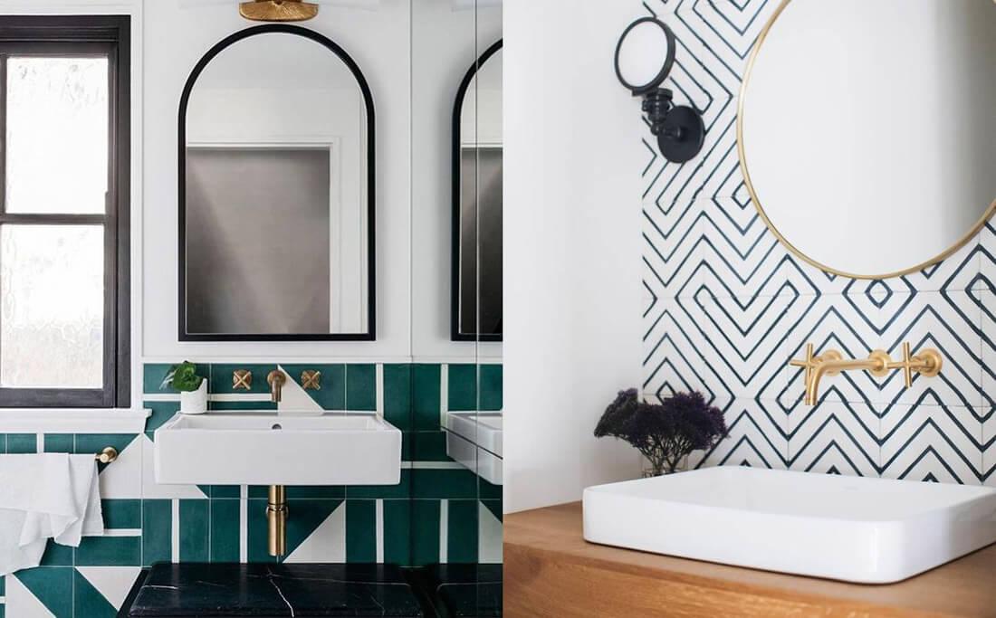 9 tendencias para baños en 2021: azulejos geométricos.
